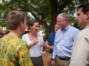 AgriCorps Fellow Paige Fuselier discusses AgriCorps with AgriCorps Founder Trent McKnight, US House Ag Committee Chairman Mike Conaway (TX-11) and Representative David Rouzer (NC-7) in Manya Krobo, Ghana.